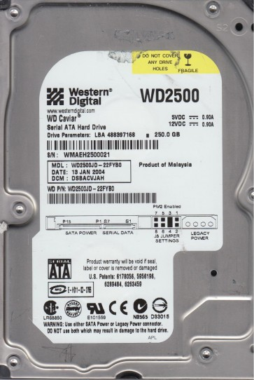 WD2500JD-22FYB0, DCM DSBACVJAH, Western Digital 250GB SATA 3.5 Hard Drive