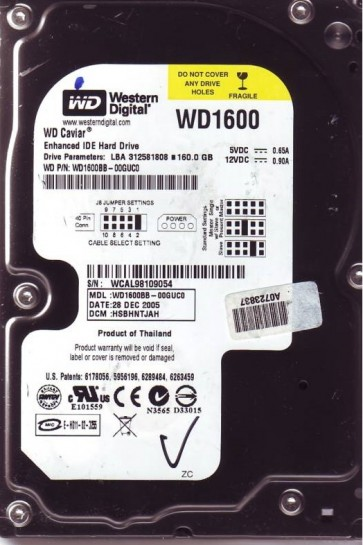 WD1600BB-00GUC0, DCM HSBHNTJAH, Western Digital 160GB IDE 3.5 Hard Drive