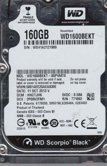 WD1600BEKT-00PVMT0, DCM HHCTJHK, Western Digital 160GB SATA 2.5 Hard Drive