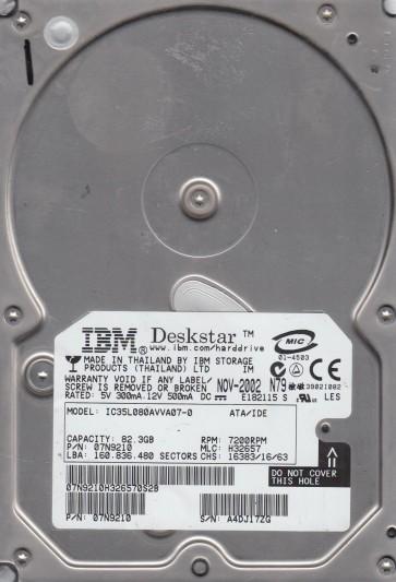 IC35L080AVVA07-0, PN 07N9210, MLC H32657, IBM 82.3GB IDE 3.5 Hard Drive