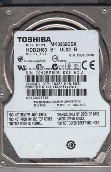 MK3265GSX, C0/GJ003M, HDD2H83 B UL02 B, Toshiba 320GB SATA 2.5 Hard Drive