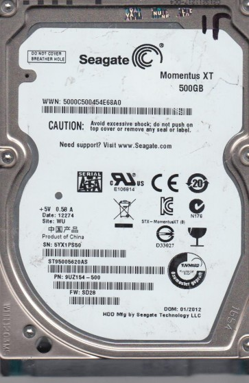 ST95005620AS, 5YX, WU, PN 9UZ154-500, FW SD28, Seagate 500GB SATA 2.5 Hard Drive