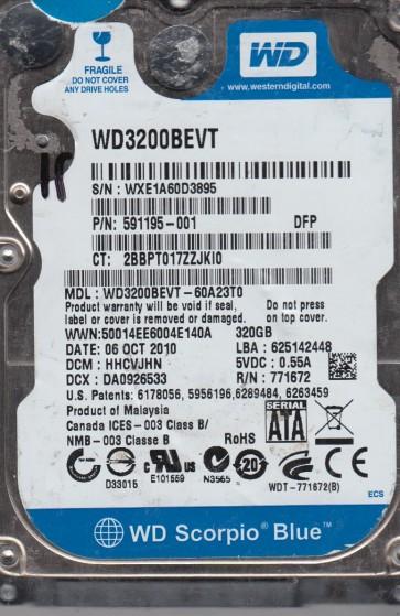 WD3200BEVT-60A23T0, DCM HHCVJHN, Western Digital 320GB SATA 2.5 Hard Drive