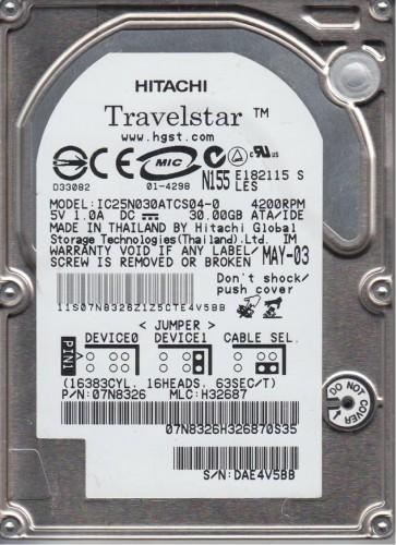 IC25N030ATCS04-0, PN 07N8326, MLC H32687, Hitachi 30GB IDE 2.5 Hard Drive