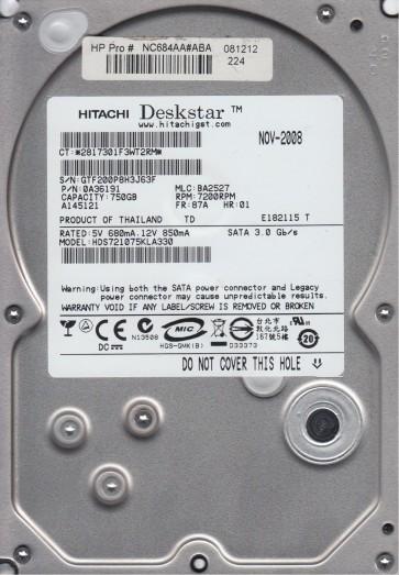 HDS721075KLA330, PN 0A36191, MLC BA2527, Hitachi 750GB SATA 3.5 Hard Drive