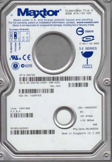 6Y080L0, Code YAR41BW0, KFBA, Maxtor 80GB IDE 3.5 Hard Drive