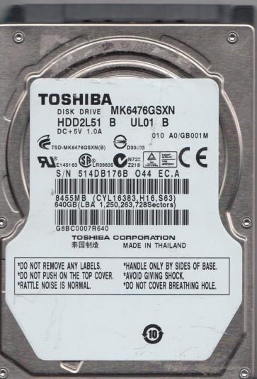 MK6476GSXN, A0/GB001M, HDD2L51 B UL01 B, Toshiba 640GB SATA 2.5 Hard Drive