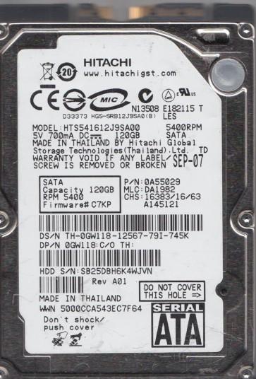 HTS541612J9SA00, PN 0A55029, MLC DA1982, Hitachi 120GB SATA 2.5 Hard Drive