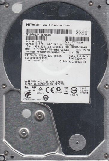 HDS721010CLA332, PN 0F10762, MLC JPT3EA, Hitachi 1TB SATA 3.5 Hard Drive