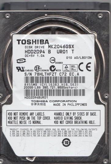 MK2046GSX, A0/LB013M, HDD2D94 B UR01 T, Toshiba 200GB SATA 2.5 Hard Drive