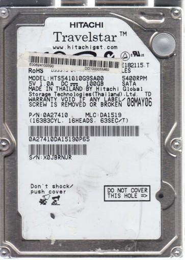 HTS541010G9SA00, PN 0A27410, MLC DA1519, Hitachi 100GB SATA 2.5 Hard Drive