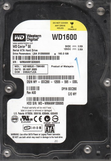 WD1600JS-75MHB0, DCM DSBACTJCA, Western Digital 160GB SATA 3.5 Hard Drive