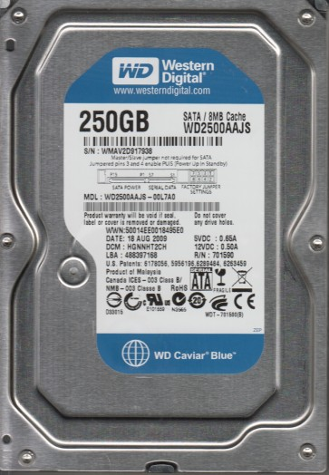 WD2500AAJS-00L7A0, DCM HGNNHT2CH, Western Digital 250GB SATA 3.5 Hard Drive