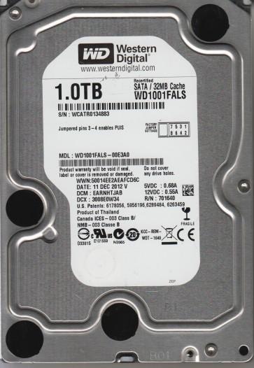 WD1001FALS-00E3A0, DCM EARNHTJAB, Western Digital 1TB SATA 3.5 Hard Drive