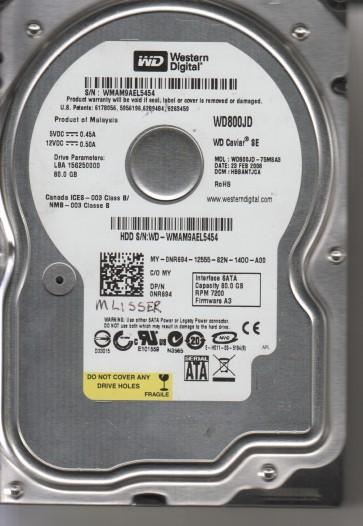 WD800JD-75MSA3, DCM HBBANTJCA, Western Digital 80GB SATA 3.5 Hard Drive