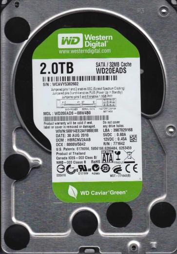 WD20EADS-00W4B0, DCM HBRCNV2AAB, Western Digital 2TB SATA 3.5 Hard Drive