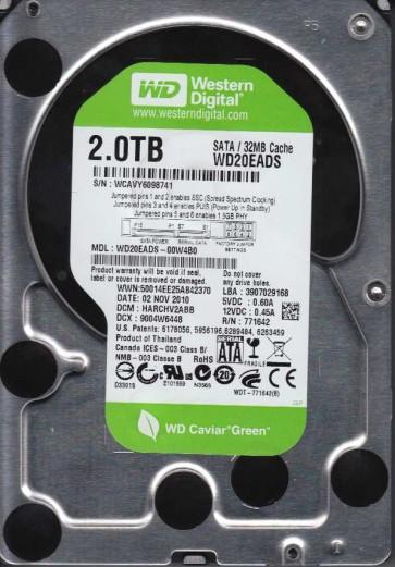 WD20EADS-00W4B0, DCM HARCHV2ABB, Western Digital 2TB SATA 3.5 Hard Drive