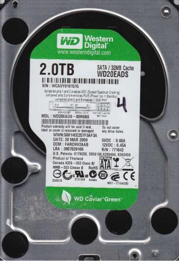 WD20EADS-00R6B0, DCM FARCHV2AAB, Western Digital 2TB SATA 3.5 Hard Drive