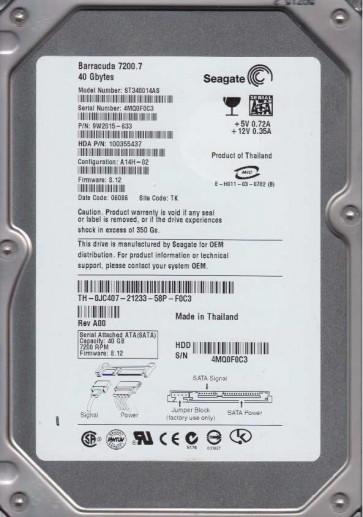 ST340014AS, 4MQ, TK, PN 9W2015-633, FW 8.12, Seagate 40GB SATA 3.5 Hard Drive