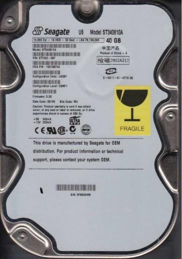 ST340810A, 5FB, WU, PN 9T7002-087, FW 3.39, Seagate 40GB IDE 3.5 Hard Drive