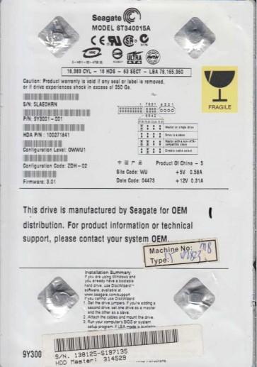 ST340015A, 5LA, WU, PN 9Y3001-001, FW 3.01, Seagate 40GB IDE 3.5 Hard Drive