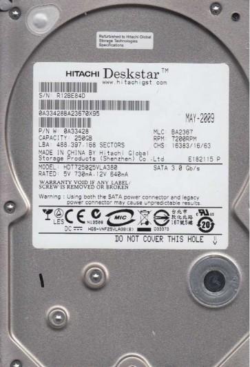 HDT725025VLA380, PN 0A33428, MLC BA2367, Hitachi 250GB SATA 3.5 Hard Drive