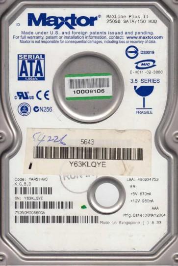 7Y250M0, Code YAR51HW0, KGBD, Maxtor 250GB SATA 3.5 Hard Drive