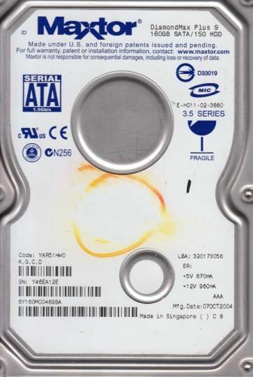 6Y160M0, Code YAR51HW0, KGCD, Maxtor 160GB SATA 3.5 Hard Drive