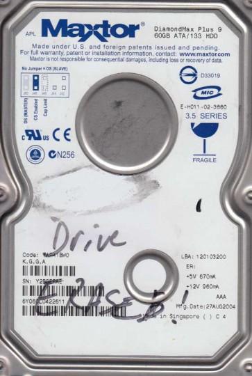 6Y060L0, Code YAR41BW0, KGGA, Maxtor 60GB IDE 3.5 Hard Drive