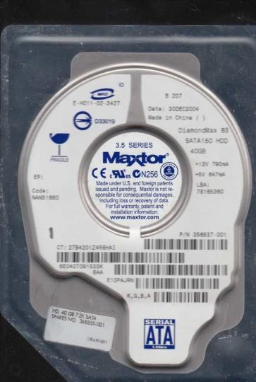 6E040T0, Code NAN51680, KGBA, Maxtor 40GB SATA 3.5 Hard Drive