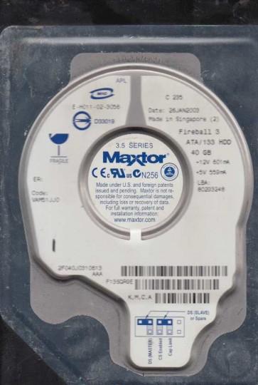 2F040J0, Code VAM51JJ0, KMCA, Maxtor 40GB IDE 3.5 Hard Drive