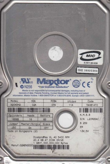 32049H2, Code YAH814Y0, KMBB, Maxtor 20GB IDE 3.5 Hard Drive