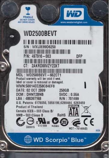 WD2500BEVT-60ZCT1, DCM DHNT2BNB, Western Digital 250GB SATA 2.5 Hard Drive
