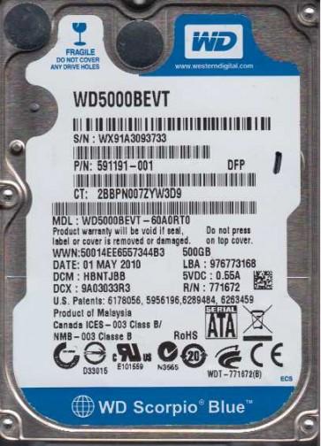 WD5000BEVT-60A0RT0, DCM HBNTJBB, Western Digital 500GB SATA 2.5 Hard Drive