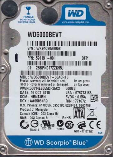 WD5000BEVT-60A0RT0, DCM HBNTJBN, Western Digital 500GB SATA 2.5 Hard Drive