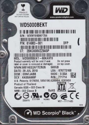 WD5000BEKT-60KA9T0, DCM EBNTJABB, Western Digital 500GB SATA 2.5 Hard Drive