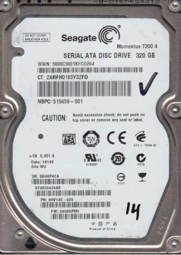 ST9320423AS, 5VH, WU, PN 9HV14E-920, FW 0003HPM1, Seagate 320GB SATA 2.5 Hard Drive