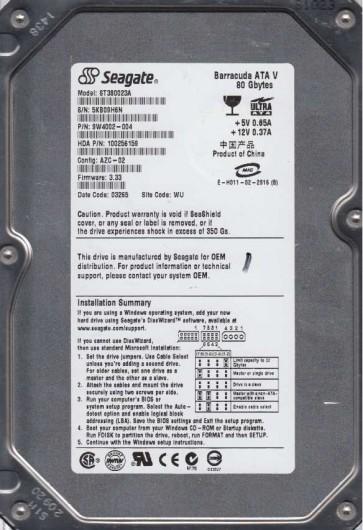 ST380023A, 5KB, WU, PN 9W4002-004, FW 3.33, Seagate 80GB IDE 3.5 Hard Drive