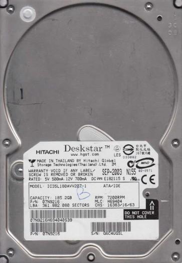 IC35L180AVV207-1, PN 07N9216, MLC H69404, Hitachi 185.2GB IDE 3.5 Hard Drive