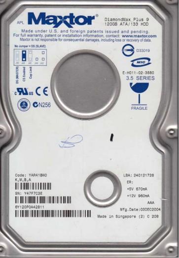 6Y120P0, Code YAR41BW0, KMBA, Maxtor 120GB IDE 3.5 Hard Drive