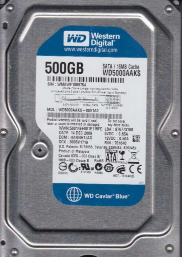 WD5000AAKS-00V1A0, DCM HARNHTJAG, Western Digital 500GB SATA 3.5 Hard Drive
