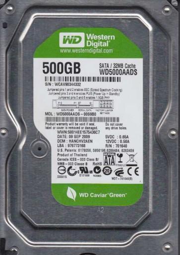 WD5000AADS-00S9B0, DCM HANCHV2AEN, Western Digital 500GB SATA 3.5 Hard Drive
