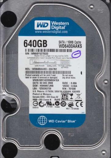 WD6400AAKS-22A7B2, DCM HBNNNTJMB, Western Digital 640GB SATA 3.5 Hard Drive
