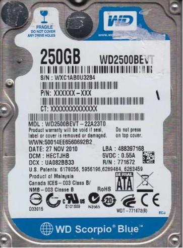 WD2500BEVT-22A23T0, DCM HECTJHB, Western Digital 250GB SATA 2.5 Hard Drive