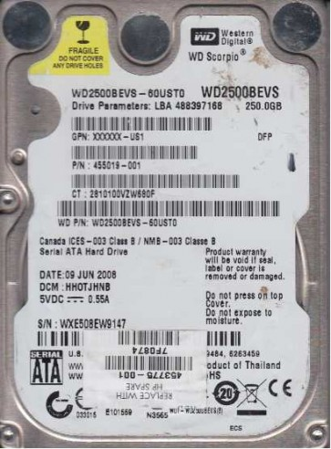 WD2500BEVS-60UST0, DCM HHOTJHNB, Western Digital 250GB SATA 2.5 Hard Drive