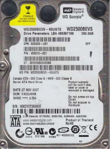 WD2500BEVS-60UST0, DCM FACVJHNB, Western Digital 250GB SATA 2.5 Hard Drive