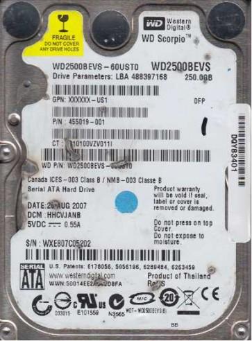 WD2500BEVS-60UST0, DCM HHCVJANB, Western Digital 250GB SATA 2.5 Hard Drive