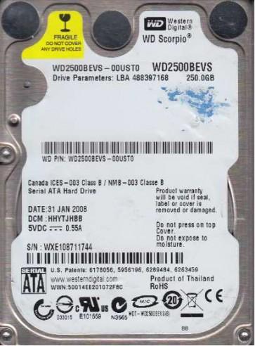WD2500BEVS-00UST0, DCM HHYTJHBB, Western Digital 250GB SATA 2.5 Hard Drive