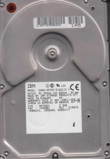 DAQA-32700, PN 46H3431, MLC E16819, IBM 2.5GB IDE 3.5 Hard Drive