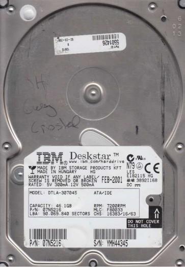 DTLA-307045, PN 07N5216, MLC F80033, IBM 46.1GB IDE 3.5 Hard Drive